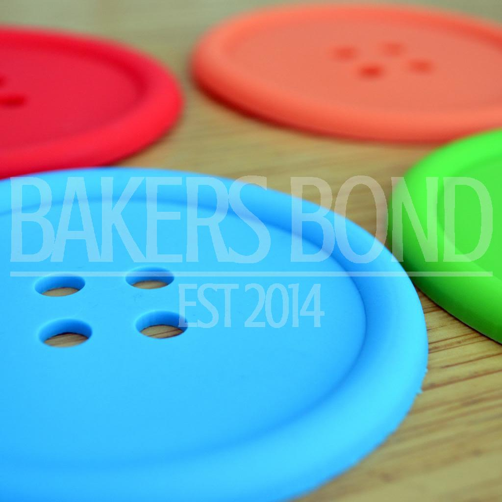 Pack Of 4 Big Button Fun Coasters Silicone Flexible Modern