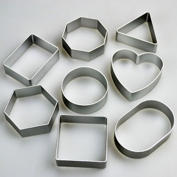 Set of 8 Basic Shapes Cookie Cutters - Square Round Heart & More