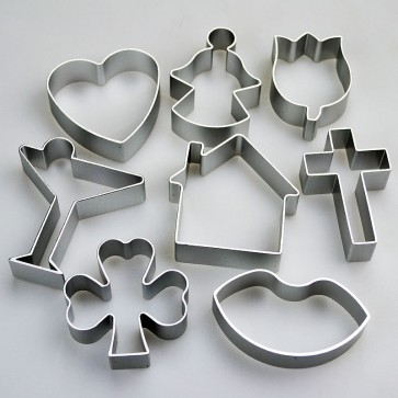 Set of 8 Celebration Shapes Cookie Cutters - Cocktail House Shamrock & More