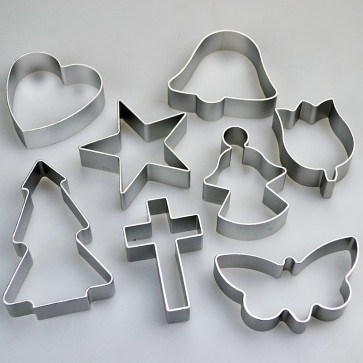 Set of 8 Religious Shapes Cookie Cutters - Cross Angel Star & More