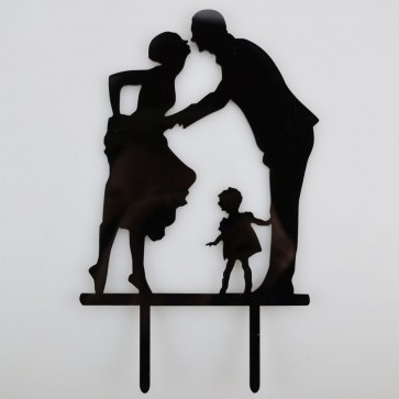 Family Bride Groom & Child Acrylic Wedding Day Cake Topper Silhouette