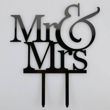 Mr & Mrs Writing Acrylic Wedding Day Cake Topper Silhouette