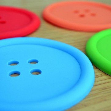 Pack of 4 Colourful Button Silicone Coasters