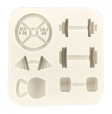 Gym Body Builder Weights Themed Silicone Mould Cupcake Topper