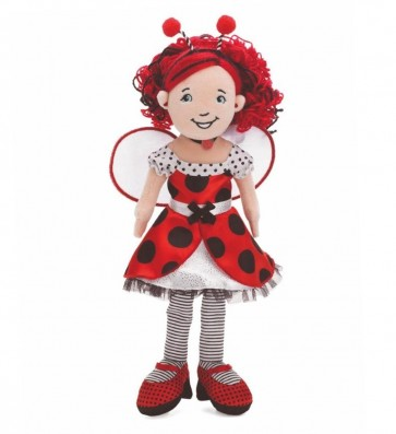 Lana is as cute as a bug in this styling red, white and black polka dot dress and shoes. Her beautiful red hair has black highlights and is held back with a cute antenna headband. Lana is part of the Special Edition Flutterflies Collection with fantasy ha