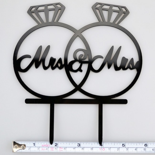 Mrs Mrs Wedding Rings Writing Acrylic Wedding Day Cake Topper