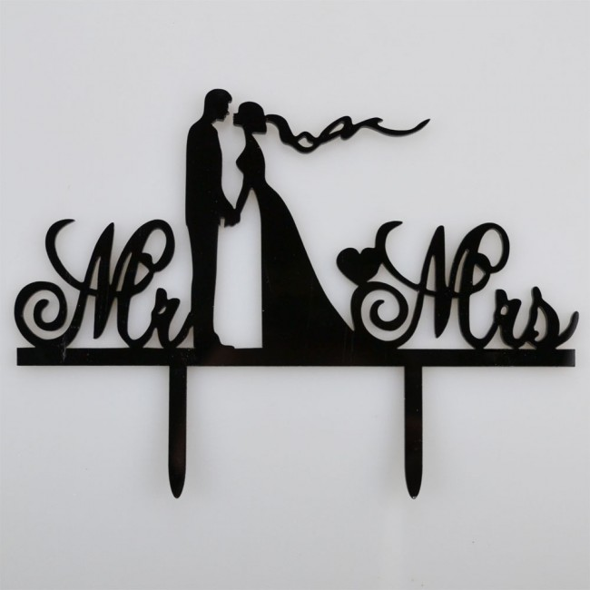 Mr mrs bride groom holding hands acrylic wedding day cake topper mr mrs bride groom holding hands acrylic wedding day cake topper silhouette junglespirit Gallery
