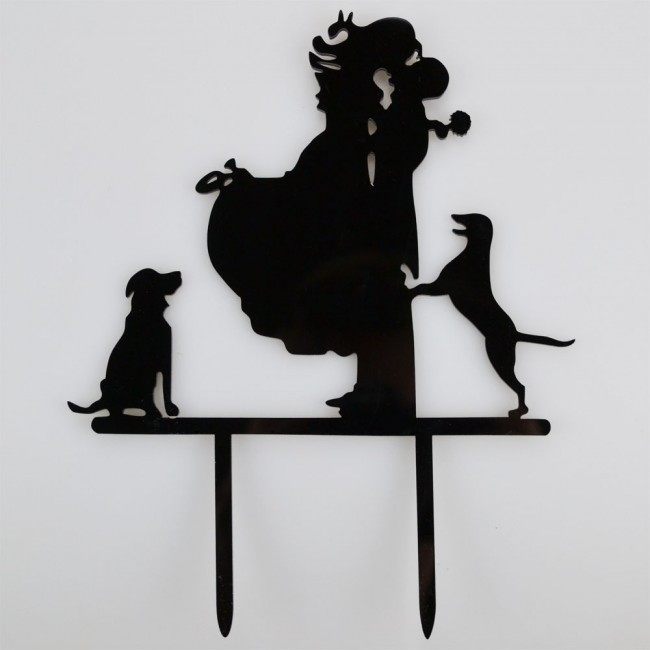 Mr Mrs Dogs Acrylic Wedding Day Cake Topper Silhouette Vintage Bride