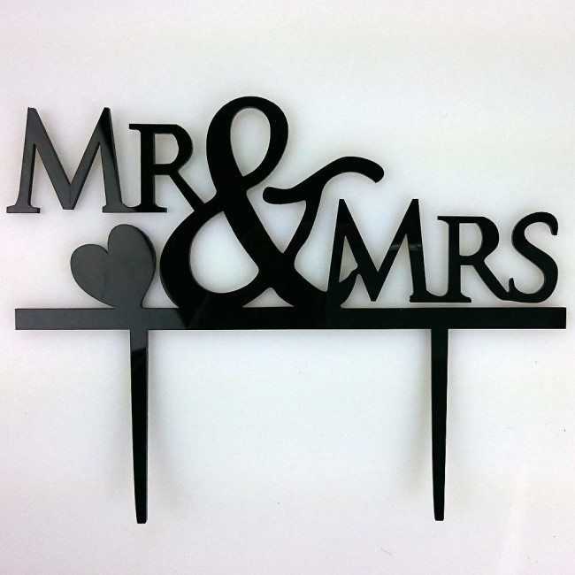 Mr Amp Mrs Heart Acrylic Wedding Day Cake Topper Silhouette