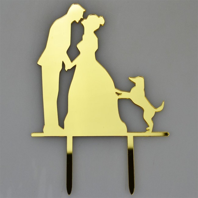 Mr & Mrs Pet Dog Gold Acrylic Wedding Day Cake Topper Silhouette ...