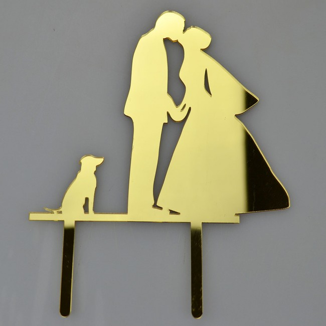 Bride Groom & Dog Gold Acrylic Wedding Day Cake Topper Silhouette ...