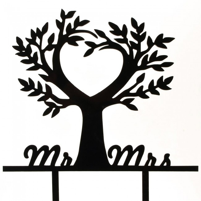 black mr mrs love tree nature acrylic wedding day cake topper
