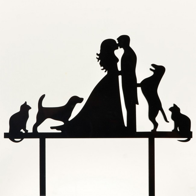 Mr Mrs Dogs Cats Acrylic Wedding Day Cake Topper Silhouette Vintage Bride