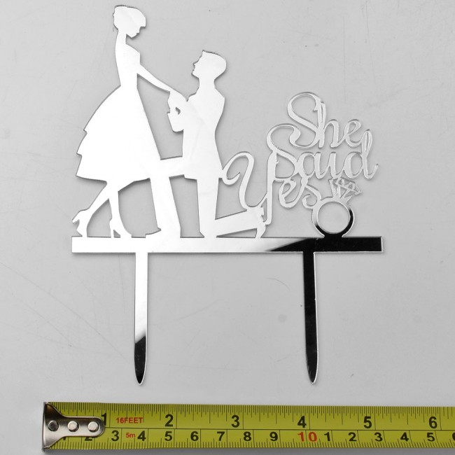 Silver Engagement Proposal Bride Groom Acrylic Wedding Day Cake Topper Silhouett