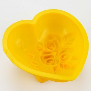 Floral Textured Rose Love Heart Silicone Mould