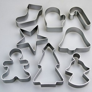 Set of 8 Christmas Cookie Cutters - Star Tree Angel Bell Mitt Gingerbread Man Candy Cane Stocking