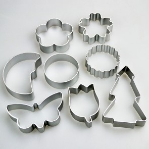 Set of 8 Nature Shapes Cookie Cutters - Flower Butterfly Tree & More