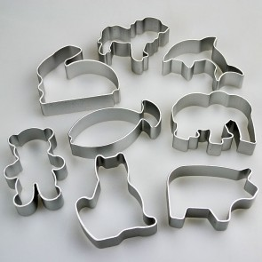 Set of 8 Animal Shapes Cookie Cutters - Dog Cat Rabbit Bear & More