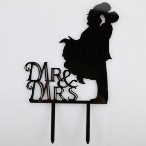 Mr & Mrs Embracing Bride & Groom Acrylic Wedding Day Cake Topper Silhouette