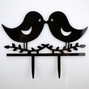 Love Birds Acrylic Wedding Day Cake Topper Silhouette Vintage Bride