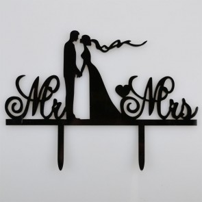 Mr & Mrs Bride & Groom Holding Hands Acrylic Wedding Day Cake Topper Silhouette