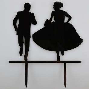 Running Bride Groom Acrylic Wedding Day Cake Topper Silhouette