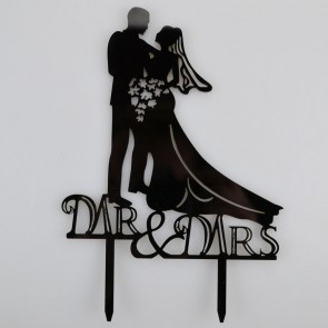 Mr & Mrs Bride & Groom Bouquet Acrylic Wedding Day Cake Topper Silhouette