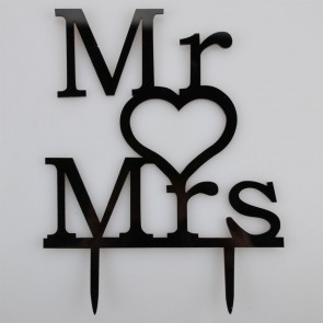 Mr LOVE Mrs Writing & Heart Acrylic Wedding Day Cake Topper Silhouette
