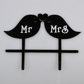 Mr & Mrs Love Birds Acrylic Wedding Day Cake Topper Silhouette Vintage Bride