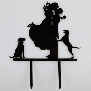 Mr & Mrs Dogs Acrylic Wedding Day Cake Topper Silhouette Vintage Bride