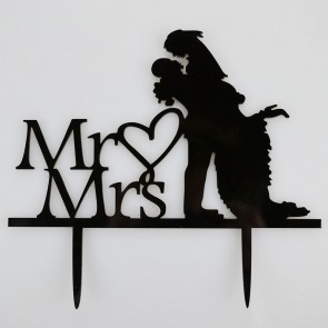 Mr & Mrs Embrace Bride & Groom Acrylic Wedding Day Cake Topper Silhouette