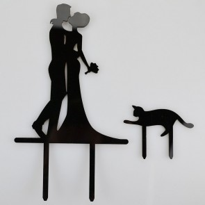 Mr & Mrs Pet Cat Acrylic Wedding Day Cake Topper Silhouette Vintage Bride