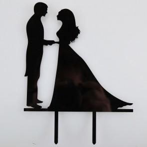 Married Couple Bride & Groom Acrylic Wedding Day Cake Topper Silhouette