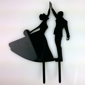 First Dance Bride & Groom Acrylic Wedding Day Cake Topper Silhouette