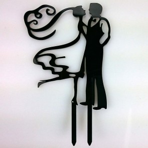 Outlined Bride & Opaque Groom Acrylic Wedding Day Cake Topper Silhouette