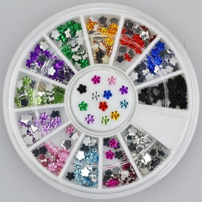 300pc Rhinestone 3D Nail Art - Multi Colour Flowers