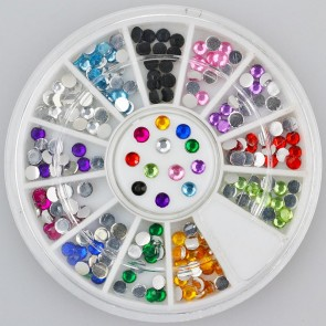 200pc Rhinestone 3D Nail Art - Multi Colour Round 3mm