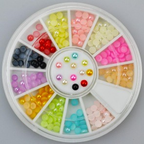 200pc Rhinestone 3D Nail Art - Multi Colour Pearl Round 3mm