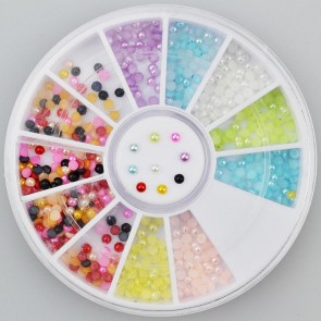 500pc Rhinestone 3D Nail Art - Multi Colour Pearl Round 2mm