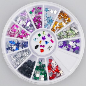 300pc Rhinestone 3D Nail Art - Multi Colour Shapes
