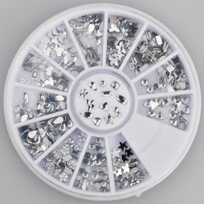300pc Rhinestone 3D Nail Art - Silver Multi Shapes