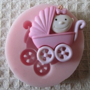 Baby In A Pram Stroller Silicone Baking Mould Fondant Icing Cake Cupcake Topper