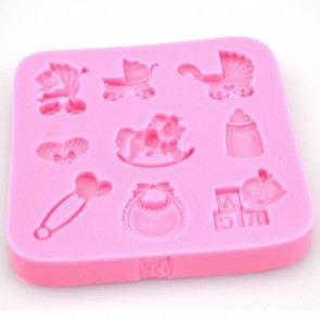 Baby Christening Shaped Silicone Mould Newborn Chocolate Cake Baking Stroller