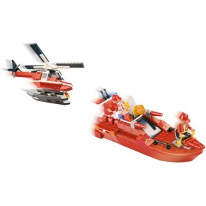 Toyrific Fire & Sea Boat Rescue Building Bricks Set (200 Pieces)