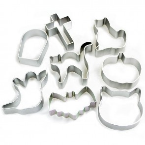 Set of 8 Halloween Shapes Cookie Cutters - Ghost Bat Pumpkin Cat & More