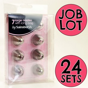 Job Lot of 24 Sets of 7 Large Stainless Steel Nozzles & Icing Bag for Resale