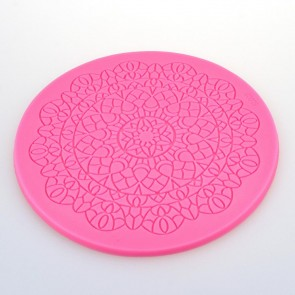 13cm Round Lace Pattern Texture Embossing Silicone Square Mat Cake Fondant Print