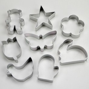 Set of 8 Easter Cookie Cutters - Star Flowers Bear Butterfly Rabbit Hen Glove