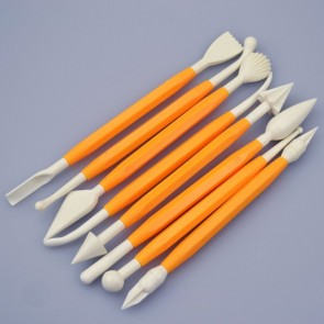 8 Piece / 16 Tool Yellow Fondant Modelling Tool Set
