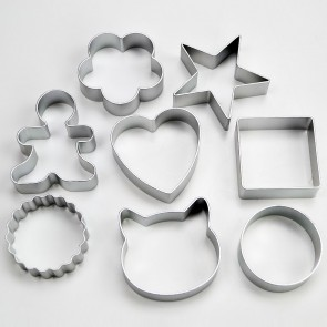 Set of 8 Popular Cookie Cutters - Star Flower Heart Circle Square Scallop Cat Gingerbread Man